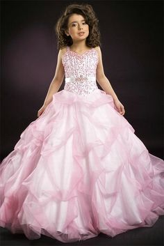 A line Sweetheart Beading Pink Organza Satin Girl Pageant Dress