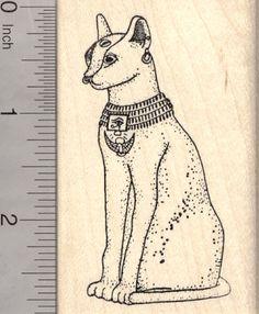 Bastet Rubber Stamp, Egyptian Cat Goddess, AKA Bast (J1104) $11 at RubberHedgehog.com