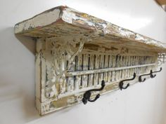 Antique Window Shutter Coat Rack, Shabby Coat Rack, Antique Coat rack, Vintage Shutter, Cast Iron Wall Hook, Architectural Salvage Shutter on Etsy, $169.99