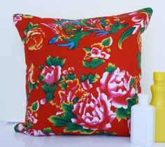 Red cushion red pillow floral cushion