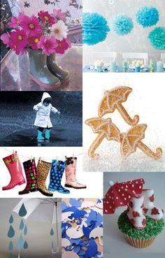 umbrella party - the rainboots on a clothes line!  Great