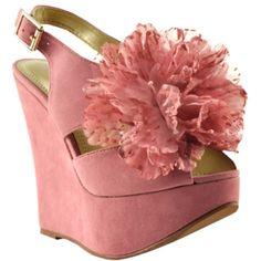pink peep toe wedge