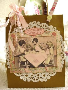Great DIY/Craft idea!  Make your own gift bags!  From The Beehive Cottage: Birthdays, Sconces & A Tea Party!