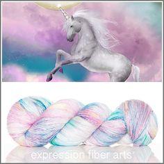 Unicorn Sprinkles Pearlescent Fingering yarn  - 50/50  soft superwash merino wool and mulberry silk - 550 yards. ExpressionFiberArts.com