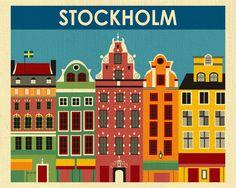Stockholm Art Print Stockholm Skyline Sweden Retro by LoosePetals