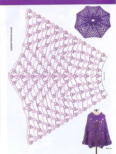 ponczo na Stylowi. crochet poncho - chart - If only I could understand this chart sigh . by Lucinda Alves Bueno Capelines, panchos et boléros 37 - crochet d'amour als Rock . Poncho Au Crochet, Pull Crochet, Bonnet Crochet, Crochet Cape, Crochet Skirts, Love Crochet, Crochet Scarves, Crochet Clothes, Crochet Stitches