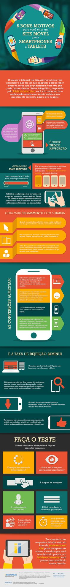 Infográfico – 5 bons motivos para você criar um site móvel para Smartphones e Tablets http://www.iinterativa.com.br/infografico-5-bons-motivos-para-voce-criar-um-bom-site-movel-para-smartphones-tablets/