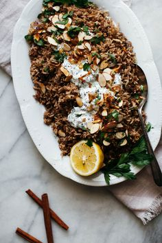 shallot mujadara with herby yogurt and almonds — molly yeh