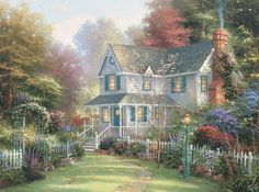 Victorian Garden II is a Thomas Kinkade collector favorite. This 1997 piece reflects the themes of family and home that were hallmarks of Thoms work.