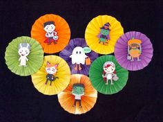 Set of 8 12 round Halloween kids paper rosettes by TheCornerPaper