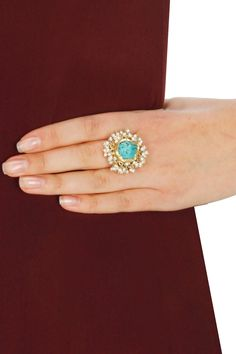Turquoise stone and pearls ring available only at Pernia's Pop-Up Shop.