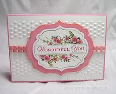 handmade card ... like the design .. sweet and simple .. bands of embossing folder hearts ... layered labels die cuts with Apothecary Arts stamping ... pink and white ... Stampin'Up!