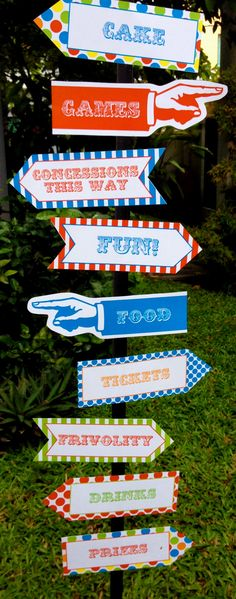 Carnival Party Direction Signs