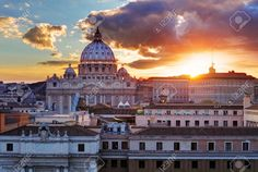 Stock Photo - Rome, Vatican city at sunset