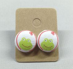 5/8 Size 24 Red/Green Frog Fabric Covered Button by RatDogInk