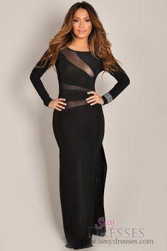 Sexy Chic Black Long Sleeve Mesh Maxi Dress