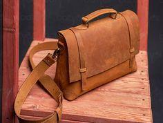"""Leather bag Messenger """"Old America Vintage"""" HANDMADE, A4 bag, Travel Bag for Men, Business Bag, Briefcase Laptop"""