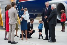 The royals were greeted by Canadian dignitaries including Prime Minister Justin Trudeau and Justin's wife Sophie, Governor General David Johnston and his wife Sharon, Lieutenant Governor of British Columbia Judith Guichon and the province's Premier Christy Clark, with son Hamish. However, Prince George appeared a little shy when Justin Trudeau tried to give the young royal a high five before reaching out for a handshake – but to no avail.