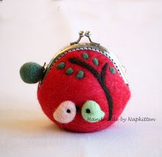 Wool Coin Purse Coin Pouch Change Pouch Wool Felted by napkitten, $26.00