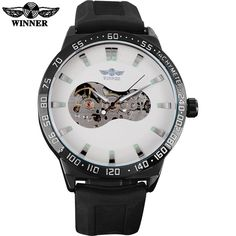 TWINNER fashion brand men mechanical watches leather strap hot casual men's automatic skeleton black watches relogio masculino
