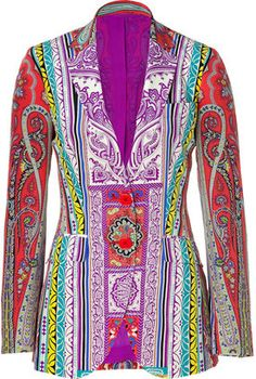 ShopStyle: EtroCoral Colorful Patterned Silk Jacket