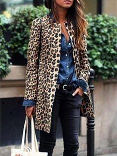 Women Leopard Sexy Winter Warm New Wind Coat Cardigan Leopard Print Fashion Casual Long Coat Plus Size Clothing Coat Look Fashion, Fashion Outfits, Womens Fashion, Fashion Tips, Fashion 2016, Fashion Coat, New Fashion Trends, Petite Fashion, Ladies Fashion