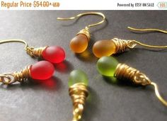 BACK to SCHOOL SALE Fall Colors Teardrop Earrings Set of Three Wire Wrapped Gold - Autumn Elixirs. Handmade Earrings. by Gilliauna from Bits n Beads by Gilliauna. Find it now at http://ift.tt/2uVCqsl!