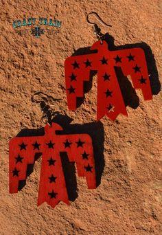 New Crazy Train Freedom Phoenix Long Chunky Earrings Red Wood Southwest #CrazyTrain #Long