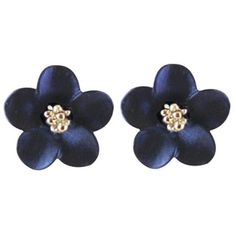 Anemone Navy Blue Enamel Silver Tone Stud Pierced Earrings ($26) ❤ liked on Polyvore featuring jewelry, earrings, accessories, enamel earrings, navy jewelry, navy earrings, silver tone earrings and studded jewelry