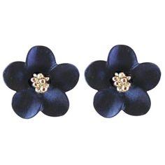 Anemone Navy Blue Enamel Silver Tone Stud Pierced Earrings ($25) ❤ liked on Polyvore featuring jewelry, earrings, silvertone earrings, silvertone jewelry, earrings jewellery, earring jewelry and navy blue earrings