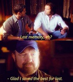 Bobby Singer ~ Supernatural ~ Such a funny last memory. They don't show simple scenes like that very often. The everyday stuff with the boys. <3