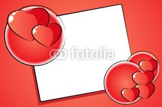 Vettoriale: St. Valentine Card with hearts and frame, cartoon style