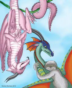 Wings of Fire - Jambu, Glory and Silver by Demari30.deviantart.com on @deviantART