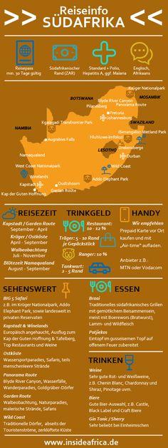Ihr plant eine Reise nach Südafrika? Die wichtigsten Informationen zu Reisezeit, Sehenswürdigkeiten, etc. seht Ihr in unserer Infografik auf einen Blick!