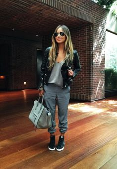Image result for grey joggers chic women outfit