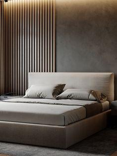 BEDROOM on Behance Modern Luxury Bedroom, Luxury Bedroom Design, Master Bedroom Interior, Room Design Bedroom, Bedroom Furniture Design, Bedroom With Ensuite, Home Room Design, Luxurious Bedrooms, Simple Bedroom Design