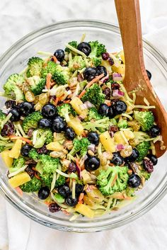 Fresh, crunchy broccoli florets are topped with a light dressing and sweetened with golden raisins, cranberries and pineapple for a super summer salad.