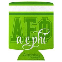 Alpha Epsilon Phi koozie available in your Sorority colors shown. Rush service is available for of the total, this service can be selected during checkout. Sorority Outfits, Sorority Gifts, Sorority And Fraternity, Alpha Epsilon Phi, Custom Greek Apparel, Greek Clothing, Bid Day, Color Show, Drink Sleeves