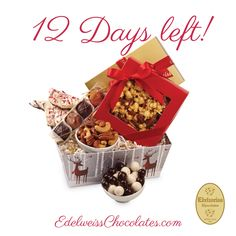 12 days until Christmas!  Holiday Cheer Basket: If you still haven't crossed everyone off your holiday gifts list, visit Edelweiss Chocolates. We've been making fine handmade chocolates in the heart of Beverly Hills since 1942.