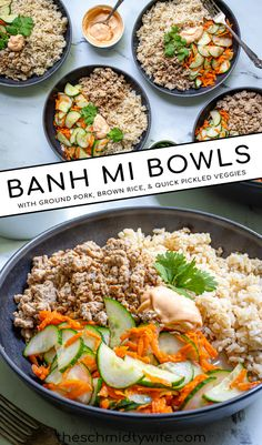 This easy weeknight bread-free version of this popular Vietnamese sandwich is sure to become a new meal in your rotation, Banh Mi Bowls! With quick pickled vegetables, ground pork, brown rice, and sriracha mayo this is a flavor packed meal that you can also feel good about! Banh Mi Bowl | Banh Mi Rice Bowl | Banh Mi Bowls | Healthy Banh Mi Healthy Italian Recipes, Healthy Dinner Recipes, Vegetarian Recipes, Sausage Recipes, Pork Recipes, Lunch Recipes, Quick Pickled Vegetables, Vietnamese Sandwich, Best Pork Recipe