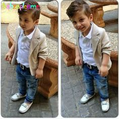 3PCS/2-8Years/Spring Autumn Baby Boys Clothes Kids Suits Casual White T-shirt+Beige Jackets+Pants Children Clothing Sets BC1007
