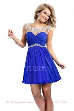 Illusion Neckline Sheath Chiffon Short Blue Open Back Homecoming Dress with Beading