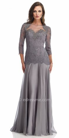 Drop waist Lace Jeweled Evening Dresses By Morrell Maxie