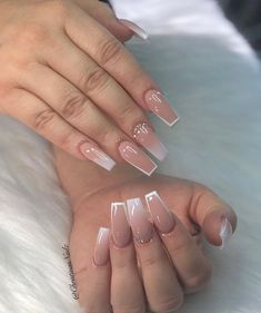 Christinas Nailz on White Tip Acrylic Nails, Summer Acrylic Nails, Acrylic Nail Designs, Spring Nails, Nagellack Design, Aycrlic Nails, Pink Tip Nails, Pink Stiletto Nails, Coffin Nails