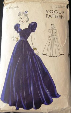 Vintage Original Vogue 30's Evening Dress Pattern No. 8500