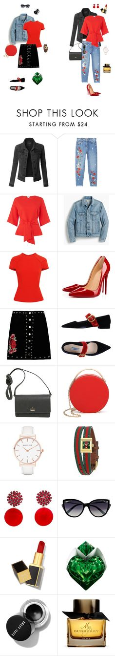 """""""red top"""" by ulusia-1 ❤ liked on Polyvore featuring LE3NO, MANGO, J.Crew, Roland Mouret, Christian Louboutin, Boohoo, Prada, Kate Spade, Eddie Borgo and Abbott Lyon"""