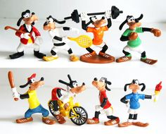 8 x 80s Disney Goofy Sports Vintage Toy Bully Figurines