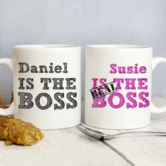 Personalise this set of real boss mugs with a name of each mug. you can personalise with first name up to 12 characters on each mug Personalized Couple Gifts, Personalized Wedding, Engraved Wedding Gifts, Gift Wedding, Wedding Ideas, Boss Mug, Engagement Presents, Couple Mugs, Mug Printing