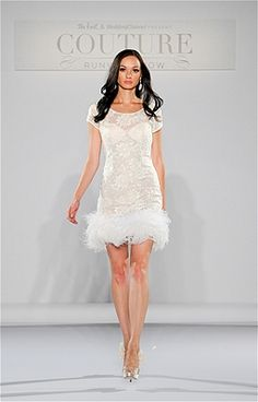 Top 10 Sexy Wedding Dresses from Bridal Fashion Week.  -  Sheer and Showy - This Melanie Harris dress is short, sheer and showy, with feather detailing characteristic of the 1920s.