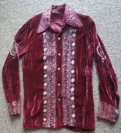 WILD Vtg 60 s Men s Red Velvet Embroidery Shirt L Hippie Rock Star Hendrix  Style  fashion  clothing  shoes  accessories  vintage  mensvintageclothing  (ebay ... 19c62c038